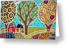 Barn Trees And Garden Greeting Card by Karla Gerard