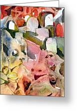 Barn Yard Ghouls Cemetary Greeting Card by Mindy Newman