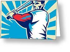 Baseball Player Batting Retro Greeting Card by Aloysius Patrimonio