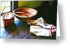 Basket Of Eggs Greeting Card by Susan Savad