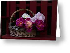 Basket On The Bench Greeting Card by Rebecca Cozart