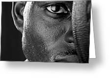 Basketball Player Close Up Portrait Greeting Card by Val Black Russian Tourchin