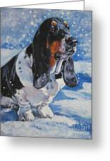 basset Hound in snow Greeting Card by Lee Ann Shepard