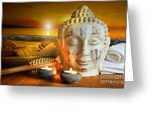 Bath Accessories With Buddha Statue At Sunset Greeting Card by Sandra Cunningham