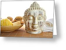 Bath Accessories With Buddha Statue Greeting Card by Sandra Cunningham