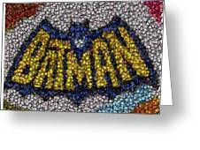 Batman Bottle Cap Mosaic Greeting Card by Paul Van Scott