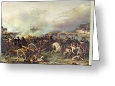 Battle Of Montereau Greeting Card by Jean Charles Langlois