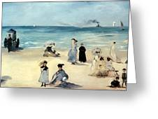 Beach Scene Greeting Card by Edouard Manet