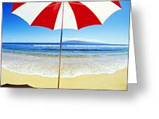 Beach Umbrella Greeting Card by Carl Shaneff - Printscapes