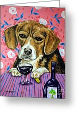 beagle at the Wine Bar Greeting Card by Jay  Schmetz