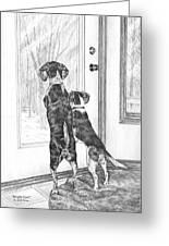 Beagle-eyed - Beagle Dog Art Print Greeting Card by Kelli Swan