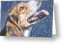Beagle In Snow Greeting Card by Lee Ann Shepard