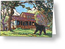 Bears At Barton Cabin Greeting Card by Nadi Spencer