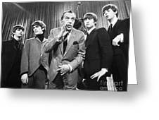 Beatles And Ed Sullivan Greeting Card by Granger