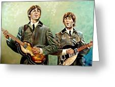 Beatles Paul And John Greeting Card by Leland Castro