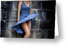 Beautiful Romantic Woman Standing Near a Stone Wall Greeting Card by Oleksiy Maksymenko
