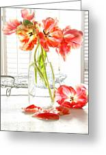 Beautiful Tulips In Old Milk Bottle Greeting Card by Sandra Cunningham