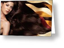 Beautiful Woman With Hair Extensions Greeting Card by Oleksiy Maksymenko