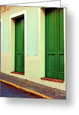 Behind The Green Doors Greeting Card by Debbi Granruth