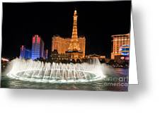Bellagio Fountains Night 1 Greeting Card by Andy Smy