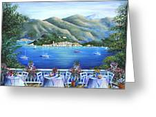 Bellagio From The Cafe Greeting Card by Marilyn Dunlap