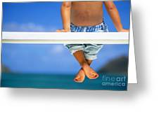 Bench By The Ocean Greeting Card by Dana Edmunds - Printscapes