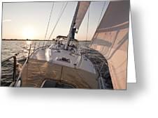 Beneteau 49 Sailing Yacht close hauled charleston sunset Sailboat Greeting Card by Dustin K Ryan