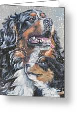 Bernese Mountain Dog With Pup Greeting Card by L A Shepard