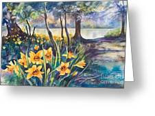 Beside The Lake Beneath The Trees. Greeting Card by Kate Bedell