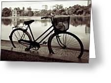 Bicycle By The Lake Greeting Card by Dave Bowman