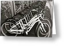 Bicycles In Belmont Shore Greeting Card by Gwyn Newcombe