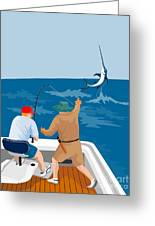 Big Game Fishing Blue Marlin Greeting Card by Aloysius Patrimonio