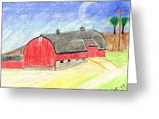 Big Red Barn Greeting Card by John Hoppy Hopkins