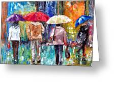 Big Red Umbrella Greeting Card by Debra Hurd