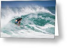 Big Wave Surfer At La Perouse Bay Maui Greeting Card by Denis Dore