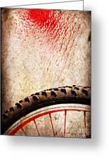 Bike Wheel Red Spray Greeting Card by Silvia Ganora