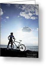 Biking Silhouette Greeting Card by Brandon Tabiolo - Printscapes