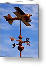Biplane Weather Vane Greeting Card by Garry Gay