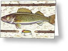 Birch Walleye Greeting Card by JQ Licensing