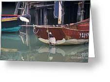 Bird On Boat Oar - Hong Kong Greeting Card by Gordon Wood