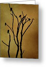 Birds In Tree Greeting Card by Dave Gordon