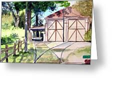 Birney Trolley Barn Greeting Card by Tom Riggs
