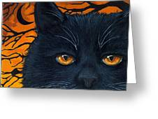Black Cat And Moon Greeting Card by Linda Apple