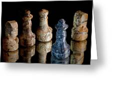 Black Chess King Defeated And Surrounded Greeting Card by Marc Garrido