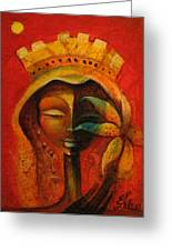 Black Flower Queen Greeting Card by Elie Lescot