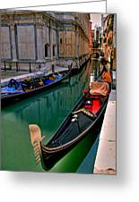 Black Gondola Greeting Card by Peter Tellone