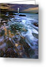 Black Point Light Greeting Card by Meirion Matthias
