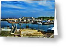 Block Island Marina Greeting Card by Lourry Legarde