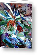 Blue Abstract Floral Greeting Card by Mindy Newman
