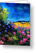 Blue And Pink Flowers Greeting Card by Pol Ledent